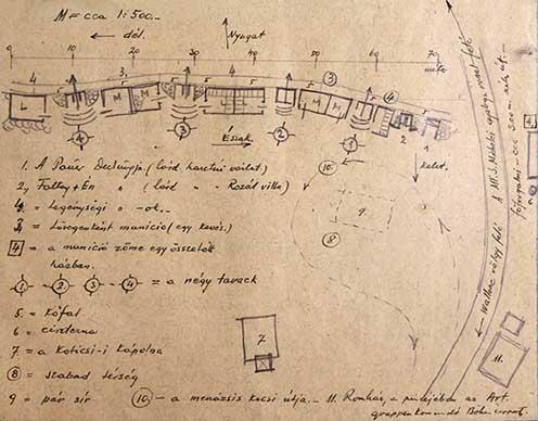 A Pauer-üteg elhelyezkedésének vázlata az emlékiratból