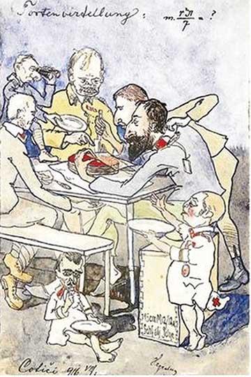 Tortaosztás: karikatúra a Harcéri vázlatok című albumból