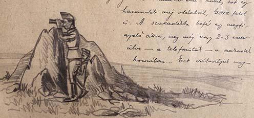 Tüzérségi megfigyelők fedezékben: rajz az emlékiratból