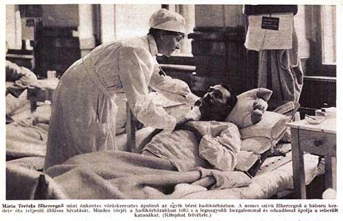 Mária Terézia főhercegnő mint önkéntes vöröskeresztes egy bécsi hadikórházban