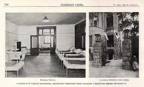 Wodianer Hugó lapkiadó villájában berendezett hadikórház 1914-ben