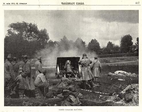 """""""Nehéz taraczk elsütése"""" – kép a Vasárnapi Újság 1915. június 27-ei számából"""