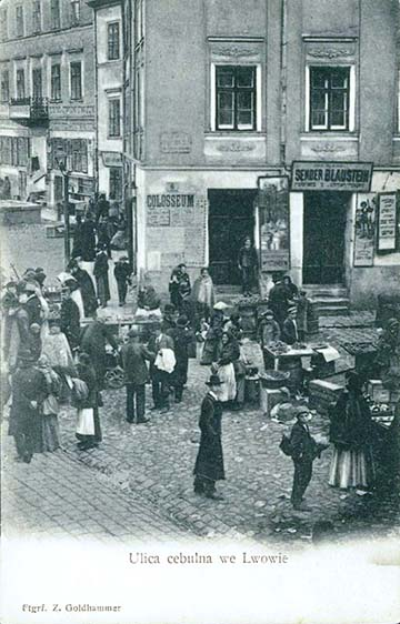 Kép a zsidónegyedből Lembergben. A falragasz a Colosseum Színházat hirdeti (1903 körül)