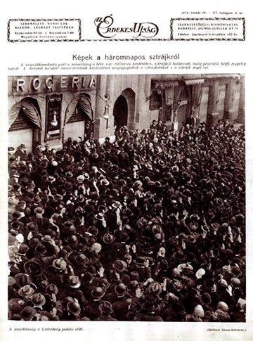 Fénykép a szociáldemokraták által szervezett tüntetésről az Érdekes Újság 1918. február 24. száma címlapján