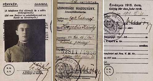 Hegedős Károly katonai igazolványa 1918-ból