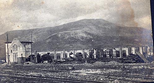 A szétbombázott görzi vasútállomás 1918-ban