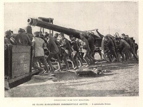 Zsákmányolt olasz ágyú szállítása