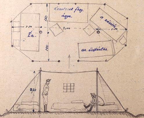 A katonai sátor rajza az emlékiratból