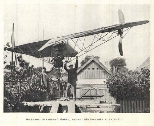 Ős Lajos csavarrepülőgépe, melyet Békéscsabán konstruált