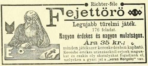 A Richter-féle türelemjátékok reklámja egy 1891-es újságban