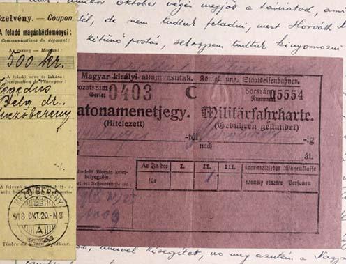 Mezőberényből feladott pénzutalvány nyugtája és katonai vonatjegy az emlékirat mellékleteként