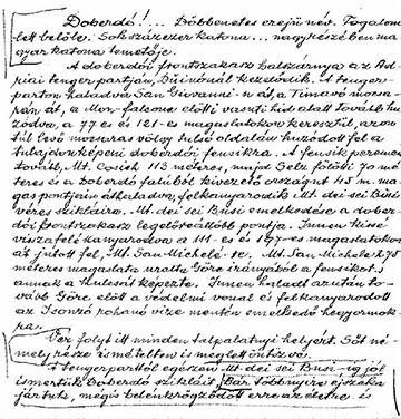 Imre Gábor kéziratos doberdói naplójának első oldala