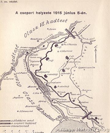 A védőcsapatok elhelyezkedése a Doberdó-fennsíkon 1915. június 5-én