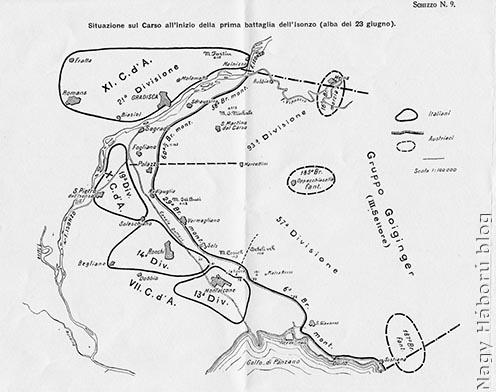 Az első isonzói csata előtti viszonyok a Doberdó-fennsíkon korabeli olasz vázlaton