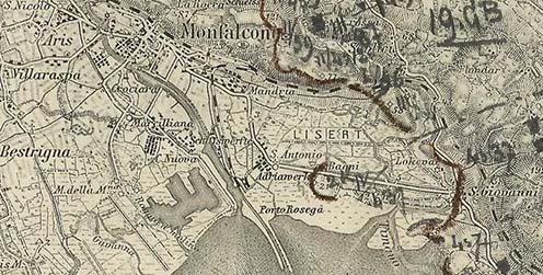 A naplóban leírt terület az osztrák–magyar 5. hadsereg részletes helyzetét ábrázoló 1915. októberi térképen. Jól kivehető az előretolt állás a 21-es magaslaton, az olaszok által birtokolt Adriawerkével szemben (Forrás: maps.hungaricana.hu)