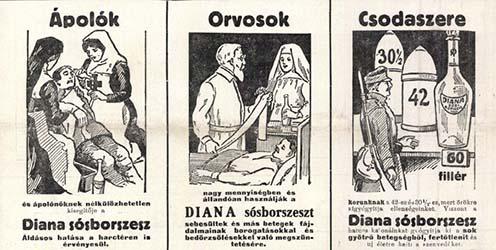 Diana sósborszesz reklámok 1915-ből a Vasárnapi Újságból