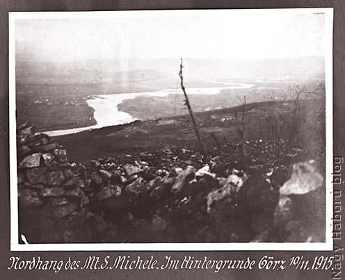 Az Isonzó, háttérben Görzcel a Monte San Micheléről 1915 novemberében