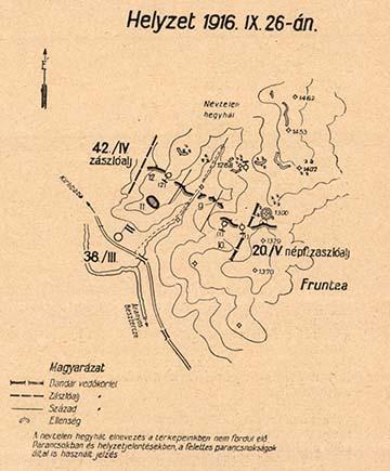 A kecskeméti 38/III. zászlóalj állásai Kirlibabánál, amit Imre Gábor újvidéki 6/I. zászlóalja 1916. szeptember 28-án átvett