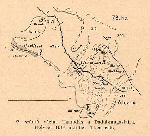 Kirlibabánál a Dadul hegyhát ellen 1916. október 14-én végrehajtott támadás vázlata. Középen az úgynevezett Névtelen hegyhát ellen támadó újvidéki 6/I. zászlóalj