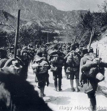 Osztrák-magyar gyalogság vonul állásba Tolmeinnél