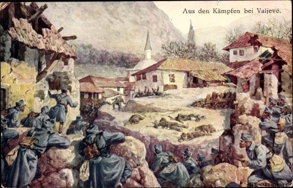 Korabeli propaganda képeslap a Valjevónál folyt harcokról