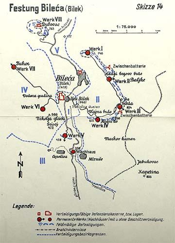 A bileki erődrendszerről készült vázlat, amelyen a naplóban említett Baljke és Miruše települések is láthatók