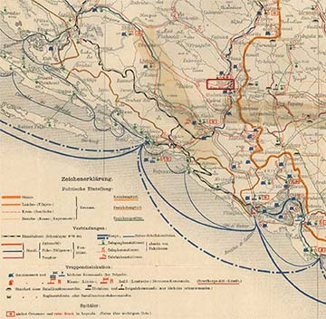A napló eseményeinek tágabb környéke az ott elhelyezett csapatok és szolgáltatások jelölésével 1914. augusztus 1-jén. Bilek és Neu Bilek piros kerettel jelölve