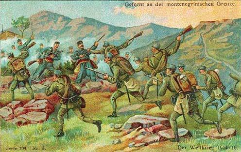 Ütközet a montenegrói határnál korabeli képeslapon