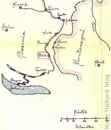 Részlet dr. Kemény Gyula naplójához készített térképvázlatából