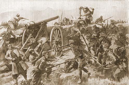 Osztrák–magyar csapatok elfoglalnak egy montenegrói ágyút – korabeli képes illusztráció