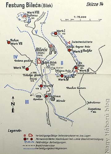Bilek és környéke az erődrendszer vázlatával