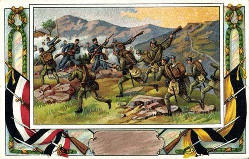 Összecsapás a montenegrói határon – idealizált kép egy korabeli képeslapon