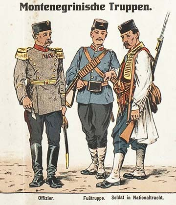 Montenegrói csapatok korabeli képeslapon