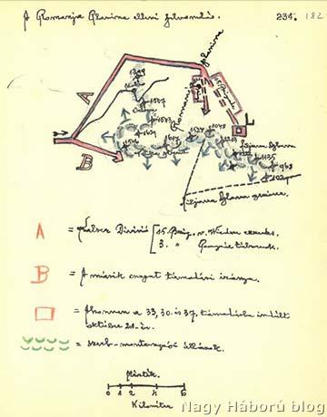 Dr. Kemény Gyula naplójában található vázlat a Romanja Planina elleni támadás tervéről