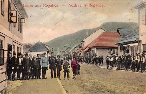 Korabeli színezett képeslap Rogaticából
