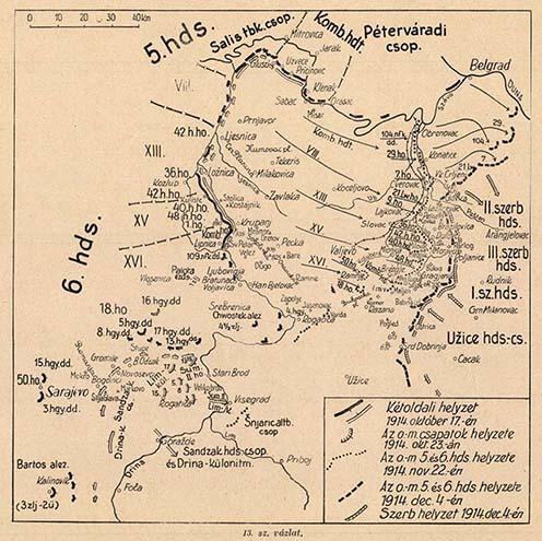 A szerb front helyzete 1914. október 17. és december 4. között