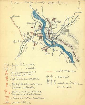"""""""A drinai átkelés sémája 1914. XI. 6–7."""" – Dr. Kemény Gyula naplójából"""