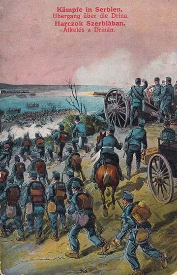 Átkelés a Drinán – ahogy azt a korabeli propaganda képeslap készítője elképzelte…