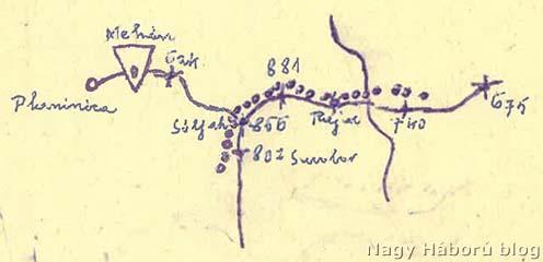 Dr. Kemény Gyula vázlata naplójában Planenica és Mehán környékéről a 881-es magaslat jelölésével