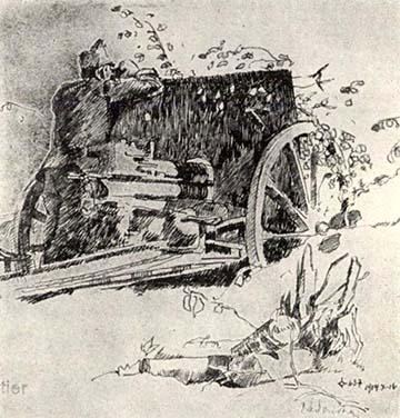 Tüzérségi megfigyelő egy löveg mellett Szerbiában 1914-ben, Zádor István harcéri rajza