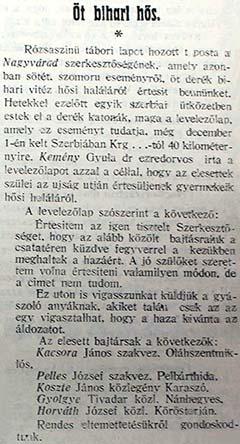 Dr. Kemény Gyula a Nagyvárad című napilap szerkesztőségének is írt 1914. december 1-jén öt bihari hősi halottról, akik szüleinek a címét nem ismerte. A tábori lap tartalma az 1915. január 9-ei lapszámban jelent meg