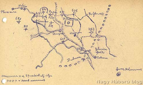 Dr. Kemény Gyula naplójának kézzel írt szövegváltozatában található vázlat ugyanarról a helyszínről