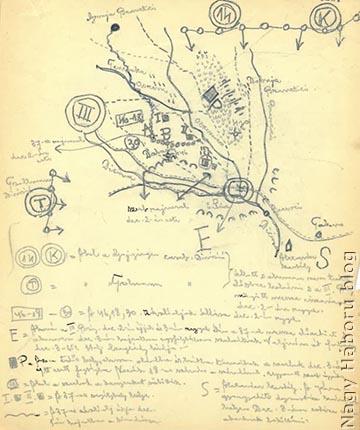 """Dr. Kemény Gyula naplójában az 1914. december 2–3-ai harcok helyszínéről készített vázlaton """"S"""" betűvel bejelölte és a jobb alsó sarokban külön magyarázó szövegben is megemlítette az Alexander kastélyt: """"A Karagyorgyevits dynastia származási helye. Dec. 3-án estére oda akartunk beszállani."""""""