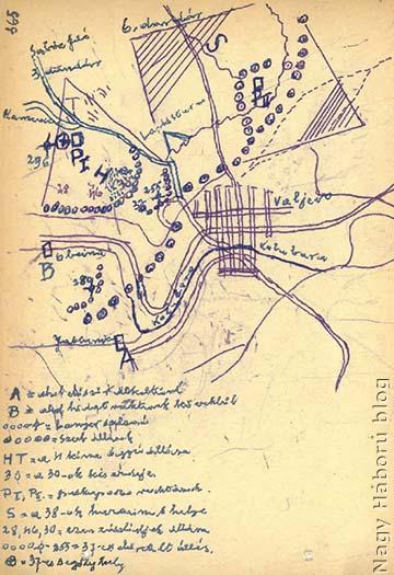 """Dr. Kemény Gyula vázlata a napló kéziratos változatában. """"B""""-vel jelölve az Obcinán kőből rakott híd és az átkelés helyszíne"""