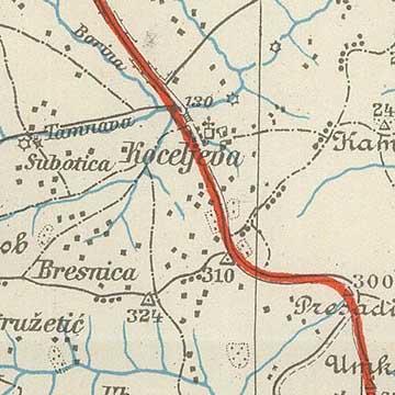A naplóban említett terület kinagyítva az előző katonai térképről