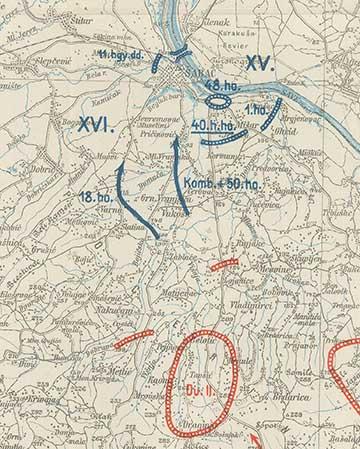 A dr. Kemény Gyula alakulatát is magába foglaló 50. hadosztály visszavonulásának az útvonala Sabác irányába. A jobbra alsó sarokban található Sopot, ahonnan 1914. december 10-én éjfélkor indultak északnak a Száva és Sabác felé