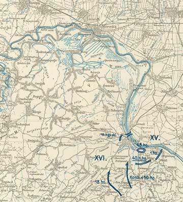 A XV. és a dr. Kemény Gyula alakulatát is magába foglaló XVI. hadtest visszavonulásának az útvonala Szabács irányába. A térképrészleten felül középen látható Mitrovica