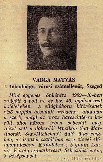 A naplóban említett Varga Mátyás hadnagy, a géppuskás osztag parancsnoka