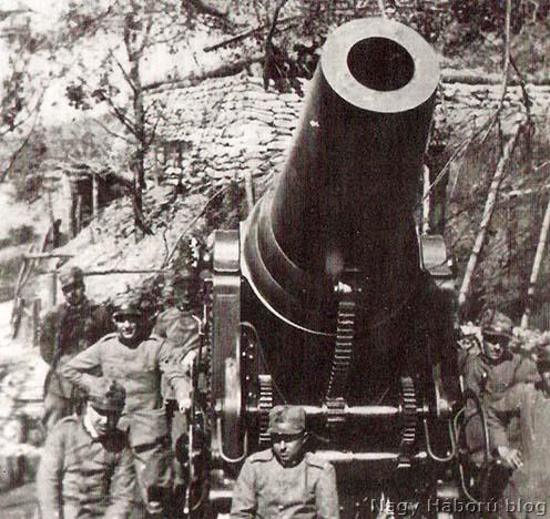 Olasz 28 cm-es ágyú és személyzete a Doberdón 1915-ben