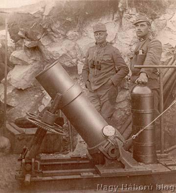 """Osztrák-magyar 22 cm-es 1915 M aknavető és a """"macska"""""""